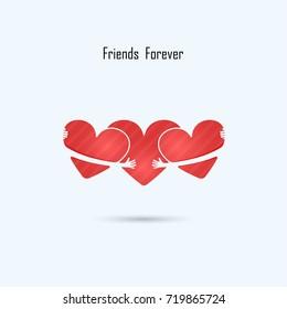 LOVE-HUG-FRIENDS FOREVER vector logo design.Aid & love icon.Wedding logo.Bridegroom,Bride icon idea concept.Family,man,woman,boy,girl,Boyfriend,girlfriend sign.Love,Heart Care logo.Vector illustration