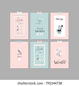 Lovely Abstract Hand Drawn Floral Pastel Greeting Cards. Cute Romantic vector background for invitations, gift tag, wrapping, anniversary, Valentine's days party, wedding, birthday, baby shower.