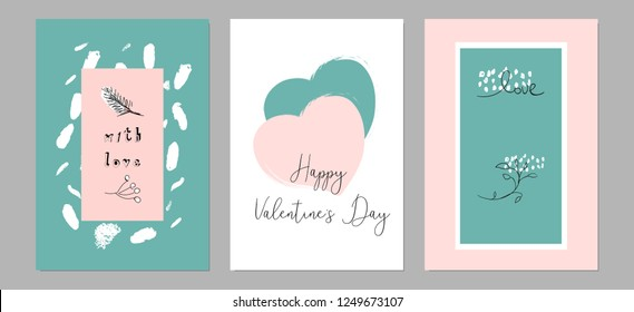 Lovely Abstract Hand Drawn Greeting Cards with traditional symbols of Valentine's Day. Cute cartoon gentle background for invitations, gift tag, wrapping, anniversary, Valentine's days party, wedding