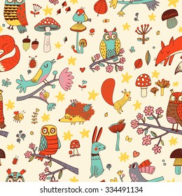 Lovely autumn concept childish seamless pattern with fox, rabbit, owl, hedgehog, squirrel and birds in mushrooms, flowers and branches. Seamless pattern can be used for wallpapers, pattern fills