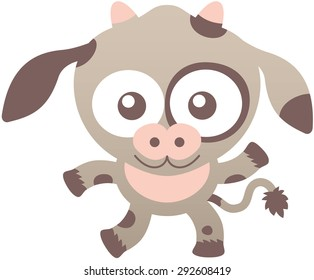 Lovely baby cow with light brown fur, long ears, wide muzzle, bulging eyes, small horns and playful mood while staring at you, waving enthusiastically and smiling sweetly