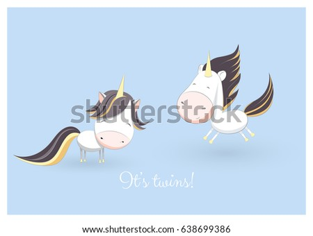 Lovely baby shower greeting card 2 stock vector royalty free a lovely baby shower greeting card with 2 hand drawn unicorns and an example text message m4hsunfo