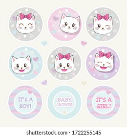 Lovely Baby Shower Round Shape Tag Set. Cute Kittens Stickers. Funny baby cat with bow, tiny hearts and stars. It's a Boy. It's a Girl. Infantile Childish Design. Pastel colors.