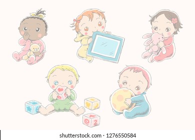 Lovely baby with their toys in line style