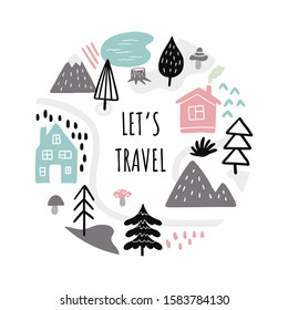 Lovely banner on travels theme. Hand-drawn vector illustration with text and many elements like mounts, country houses, trees.