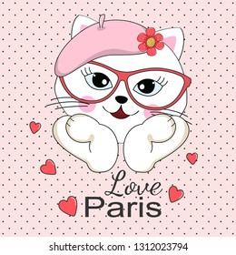 Lovely beautiful cat in sunglasses and pink beret. Love Paris slogan. Illustration for children print design, kids t-shirt, baby wear. Vector greeting card.