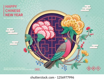 Lovely bird and flower painting new year design in clay style, Happy lunar year written in Chinese characters on blue background