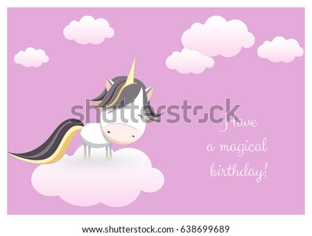 Lovely birthday greeting card hand drawn stock vector royalty free a lovely birthday greeting card with a hand drawn unicorn among clouds and an example text m4hsunfo