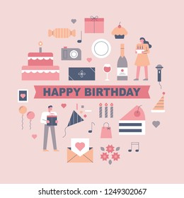 lovely birthday icons and sweetheart characters. flat design style vector graphic illustration. various people set.