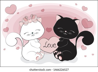 Lovely black and white cats, kitten couple sitting and smiling with heart.