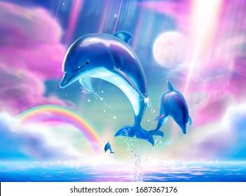 Lovely breaching bottlenose dolphins upon fuchsia tone sky in 3d illustration, Marine mural