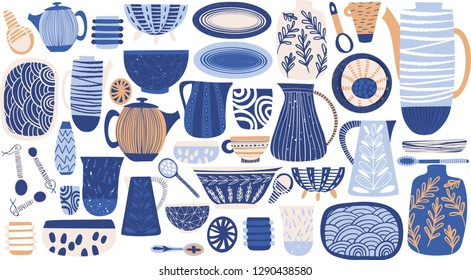 Lovely bright abstract rustic colorful pattern of hand drawn dishes: vase, plates, jug, spoon, dish vector illustration. Perfect for greetings card, textile, fabric, wallpapers, banners, menu