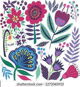 Lovely bright abstract rustic folk art herbal floral pattern of hand drawn flowers with green leaves vector illustration. Perfect for greetings card, textile, fabric, wallpapers, banners, phone case