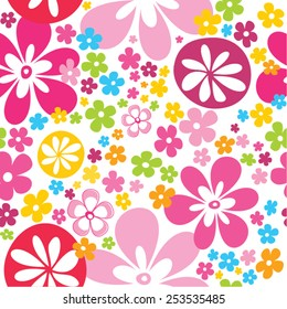 Lovely bright flowers seamless pattern in pink blue green yellow orange