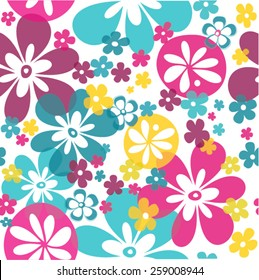 Lovely bright flowers seamless pattern in pink blue turquoise purple yellow