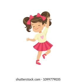 Lovely brunette little girl dancing vector Illustration on a white background
