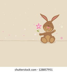 Lovely bunny with big pink flower