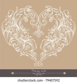 lovely card with heart shape- wedding- birthday