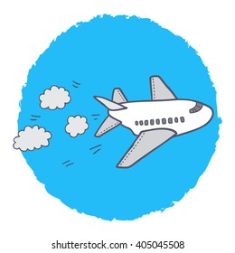Lovely cartoon airplane on a blue sky. Nice vector illustration for children.