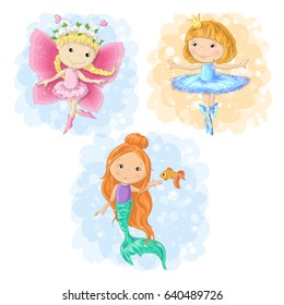 Lovely cartoon girl in different costumes butterfly, ballerina and a mermaid. Vector illustration.