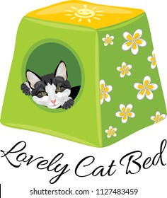 Lovely cat bed. Vector