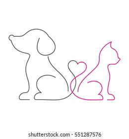 Lovely cat and dog thin line icons