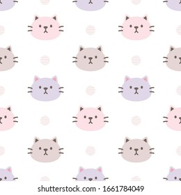 Lovely cat seamless background repeating pattern, wallpaper background, cute seamless pattern background