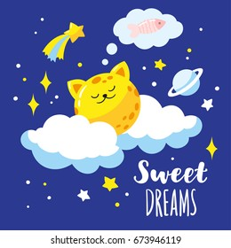 Lovely cat-moon on clouds in the night sky. Vector illustration is suitable for greeting cards, posters, prints on T-shirts.