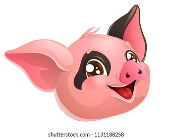 The lovely cheerful pink and black paint pig head with brown eyes. A cartoon vector illustration isolated on white.