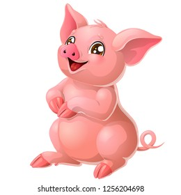 The lovely cheerful pink pig with and brown eyes sits. A yellow hog, boar a symbol 2019 New Years according to the Chinese calendar. A cartoon vector illustration isolated on white.