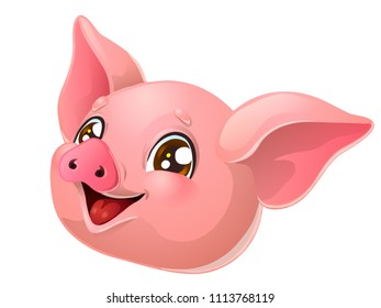 The lovely cheerful pink pig head with brown eyes. A yellow hog, boar a symbol 2019 New Years according to the Chinese calendar. A cartoon vector illustration isolated on white.