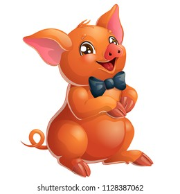The lovely cheerful red little pig Duroc breed with black tie bow and brown eyes sits. A cartoon vector illustration isolated on white.