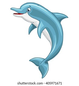 The lovely cheerful smiling blue gray dolphin jumps over water on white background, isolated. Vector illustration.