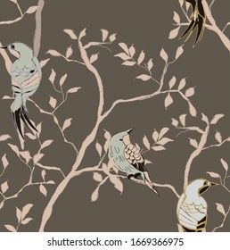 Lovely chinoiserie vectorial digital pattern with blue birds on pink branches and brown background. All illustration are digital.