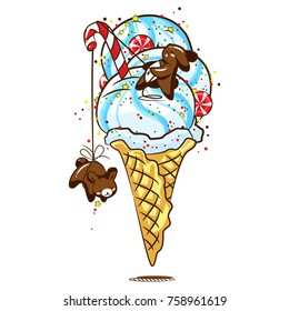Lovely chocolate rabbits eat delicious ice cream in a waffle horn, sweets and candies. Excellent illustration for printing on children's clothing, dishes, labels and stickers.