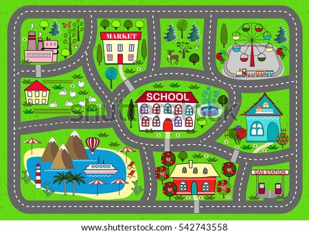 Lovely City Car Track Play Mat Stock Vector Royalty Free