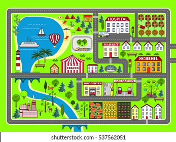 Lovely city landscape car track. Play mat for children activity and entertainment. City landscape with streets, factory, buildings, and plants.