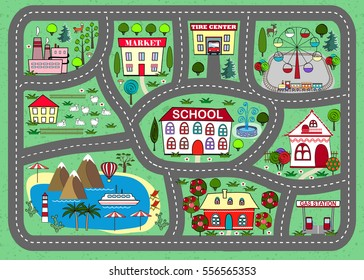 Lovely city landscape car track. Play mat for children activity and entertainment. Sunny city landscape with streets, factory, buildings, and plants.