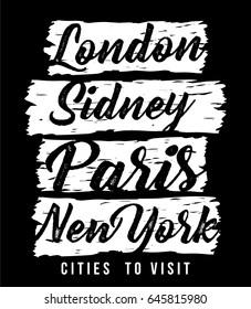 lovely city typography, illustration print design