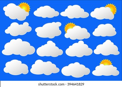 Lovely clouds with sun vector set, white clouds and yellow sun on blue, set of clouds, fluffy clound and sun on blue sky illustration, white cloud vector clipart, white bubbles for text clip art