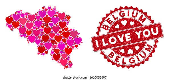 Lovely collage Belgium map and distressed stamp seal with I Love You badge. Belgium map collage designed with scattered red heart icons. Red round I Love You seal stamp with distress texture.