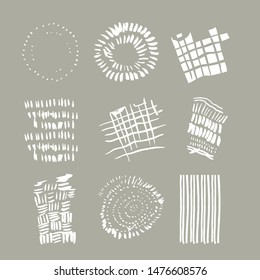A lovely collection of freehand natural design illustration elements inspired by Autumn atmosphere, the Fall, cozy Indian Summer. Tree rings, straw, flock of birds, fields, furrows, dim low sunlight