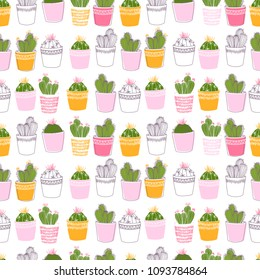 Lovely colorful cacti with flowers and thorns in pink pots. A seamless pattern for printing on fabric, clothing, dishes, obey, paper and packaging. Line art.