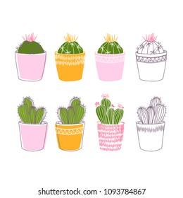 Lovely colorful cacti with flowers and thorns in pink pots. A great poster for the interior. Line art.