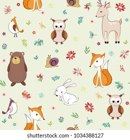 Lovely concept childish seamless pattern with forest animals and flowers. Seamless background in vector.