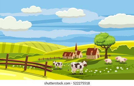Lovely countryside, farm, village, grazing cows, sheep, flowers, clouds, Cartoon style, vector illustration
