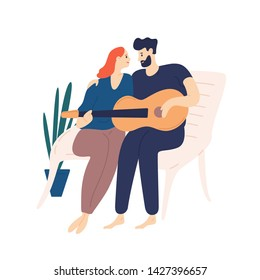 Lovely couple sitting on bench and playing guitar. Pair of young adorable man and woman cuddling and singing songs on romantic date. Boy and girl in love. Flat cartoon colorful vector illustration.