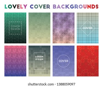 Lovely Cover Backgrounds. Admirable geometric patterns, uncommon vector illustration.