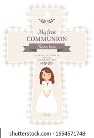 Lovely cross invitation for First Communion