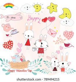 Lovely cute animal rabbit bunny and sweet home pink and blue pastel character flower garden pattern baby style background invitation card doodle comic cartoon art illustration vector